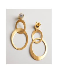 Marcia Moran - Metallic Gold and Silver Agate Druzy Linked Drop Earrings - Lyst