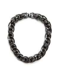 Mango - Black Fauxleather Ribbon Chain Necklace - Lyst