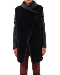 Anne Vest - Black Leather Sleeve Shearling Coat - Lyst
