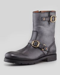 Jimmy Choo - Stanford Brushed Leather Biker Boot Black for Men - Lyst