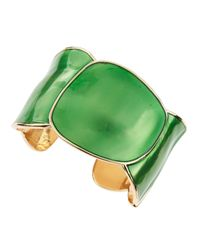 Kenneth Jay Lane | Enamel Round Cuff Green | Lyst