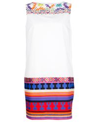 MSGM - White Aztec Print Shift Dress - Lyst