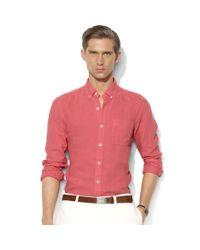 Ralph Lauren - Red Customfit Linen Buttondown Shirt for Men - Lyst