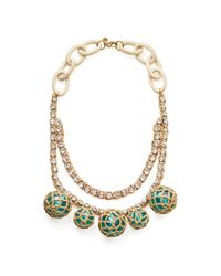 Tory Burch | Blue Crochet Bead and Raffia Crystal Necklace | Lyst