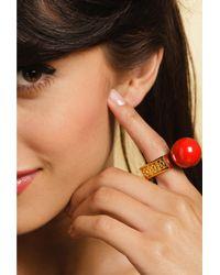 Trina Turk | Red Black Resin Ball Ring | Lyst