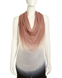 Young Fabulous & Broke - Ombre Cowlneck Racerback Top Black Ombre - Lyst