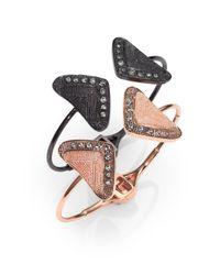 Ca&Lou - Crystal Embellished Triangle Cuff Braceletblack - Lyst