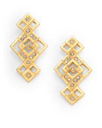 Ca&Lou - Metallic Mia Crystal Pyramid Drop Earrings - Lyst