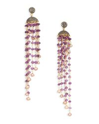 Iam By Ileana Makri | Metallic Raining Bells Amethyst, Grey Diamond & White Pearl Cascade Chandelier Earrings | Lyst
