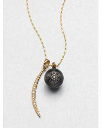 Mizuki | Metallic Diamond 14k Gold Silver Celestial Pendant Necklace | Lyst