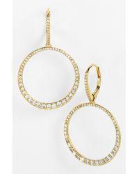 Nadri   White Crystal Frontal Hoop Earrings   Lyst