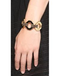 Rebecca Minkoff - Metallic Pave Link Cuff Bracelet - Lyst