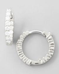 Roberto Coin - 16mm White Gold Diamond Huggie Hoop Earrings 76ct - Lyst