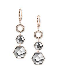 Swarovski - Metallic Rose Gold Pvd Silver Night Hexagon Crystal Drop Earrings - Lyst