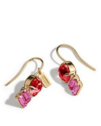 COACH | Red Double Drop Stone Earrings | Lyst