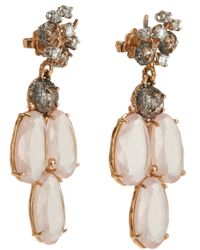 Federica Rettore - Metallic Diamond Rose Quartz Triple Drop Earrings - Lyst