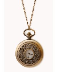 Forever 21 | Metallic Antiqued Pocket Watch Necklace | Lyst