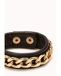 Forever 21 - Black Faux Leather Chain Wrap Bracelet - Lyst
