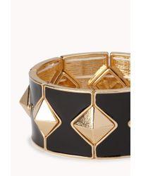 Forever 21 | Black Pyramid Studded Stretchy Bracelet | Lyst