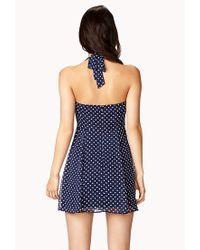 Forever 21 | Blue Polka Dot Halter Dress | Lyst