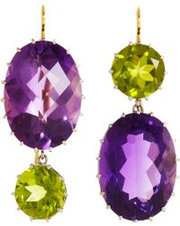 Renee Lewis | Purple Amethyst Peridot Mismatched Earrings | Lyst