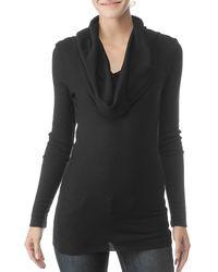 Splendid | Black Thermal Long Sleeve Cowl Neck Top | Lyst
