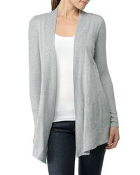 Splendid | Gray Fleece Long Sleeve Wrap Cardigan | Lyst