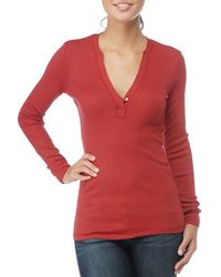 Splendid | Red Ribbed Long Sleeve V-neck Top W Button Detail | Lyst