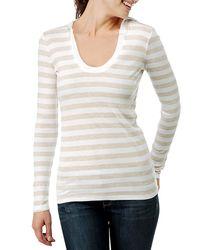 Splendid | White Ribbed Oatmeal Stripe Hoodie | Lyst