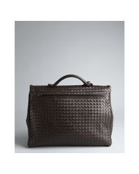 Bottega Veneta - Dark Brown Woven Leather Flap Briefcase for Men - Lyst