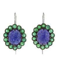 Cathy Waterman - Green Emerald Lace Earring - Lyst