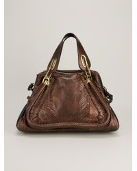 Chloé - Brown Paraty Python Skin Shoulder Bag - Lyst