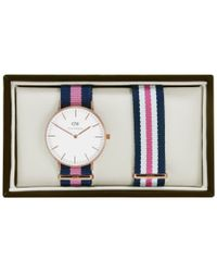 Daniel Wellington | Blue 0952dw Women's Winchester Classy Canvas Strap Watch | Lyst