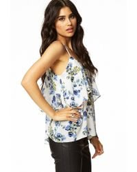 Forever 21 - Blue Tiered Floral Print Top - Lyst