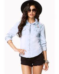 Forever 21 - Blue Embroidered Western Denim Shirt - Lyst