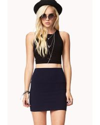 Forever 21 - Blue Bodycon Knit Mini Skirt - Lyst