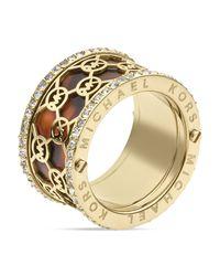Michael Kors - Metallic Monogram Tortoise Print Band Ring - Lyst
