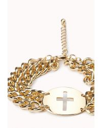 Forever 21 | Metallic Double Chain Cross Bracelet | Lyst