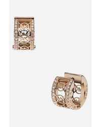 MICHAEL Michael Kors | Metallic Michael Kors Monogram Small Hoop Earrings | Lyst