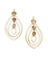 Alexis Bittar - Metallic Labradorite And White Quartz Doublet Loop Earrings - Lyst