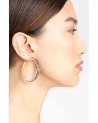 Freida Rothman   Metallic Tribeca Logo Station Hoop Earrings   Lyst
