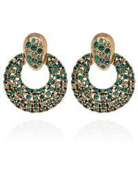 Oscar de la Renta | Green Crystal Circle Clipon Earrings | Lyst