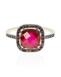Suzanne Kalan | Red Rhodolite and Black Diamond Ring | Lyst