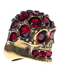 Alexander McQueen - Purple Ruby Embellished Skull Ring - Lyst