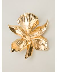 Emanuel Ungaro - Metallic Studded Floral Brooch - Lyst