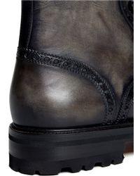 Saks Fifth Avenue - Gray Lutisburg Wing-tip Brogue Boots for Men - Lyst