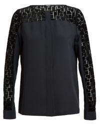 Raoul | Black Geometric Velvet Insert Silk Shirt | Lyst