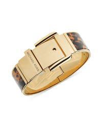 Michael Kors - Metallic Goldtone Tortoise Wide Buckle Bangle Bracelet - Lyst
