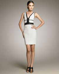 Narciso Rodriguez - Black Leatherdetail Sheath Dress - Lyst