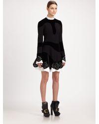 Alexander McQueen | Black Stud Collar Velvet Crepe Dress | Lyst